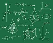 Mathematics sketches on school boar