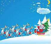 Santa Claus Reindeer New Year's Eve