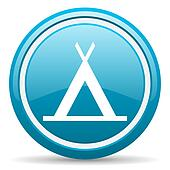 camping blue glossy icon on white background