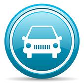 car blue glossy icon on white background