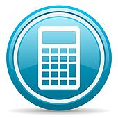 calculator blue glossy icon on white background
