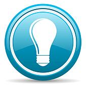 light bulb blue glossy icon on white background