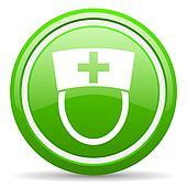 nurse green glossy icon on white background