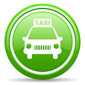 taxi green glossy icon on white background