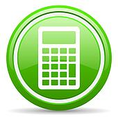 calculator green glossy icon on white background