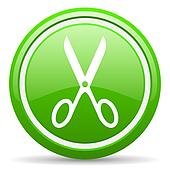 scissors green glossy icon on white background