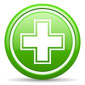 pharmacy green glossy icon on white background