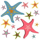 Starfishes seamless pattern