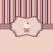 Vintage frame with cupcake