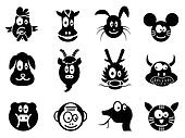 cute cartoon chinese zodiac icon,Twelve animals