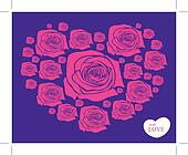rose in heart shape vector