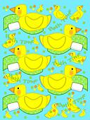 Bathtime duck and towel on aqua