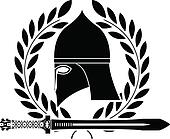 fantasy barbarian sword and helmet