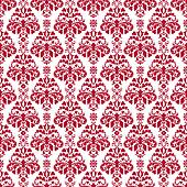 Seamless White & Cherry Red Damask