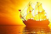 Old Battleship in the Sea Sunset