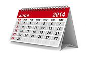 2014 year calendar. June. Isolated 3D image