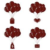 Balloons bunches, silhouette, set