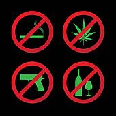 "set of ""do not"" allowed symbols - illustration"