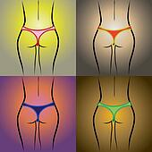 Set of beauty women back in thong panties - realistic illustration