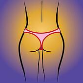 beauty woman back in thong panties - realistic illustration
