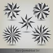 Set stars lots vector 3d