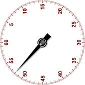 Stopwatch dial with stopwatch hand