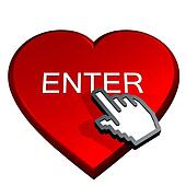 hand select enter in a red heart