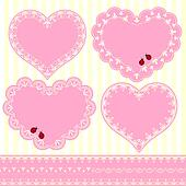 Set of Flower Frame Heart Shape Card