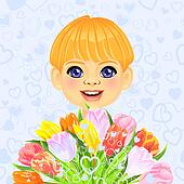 vector smiling sweet boy with a festive bouquet of flowers