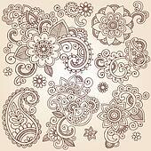 Henna Flower Tattoo Design Elements