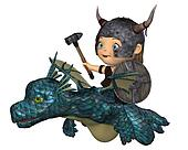 Toon Baby Viking Flying a Dragon