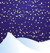 vector illustration of falling snow in the night dark blue sky