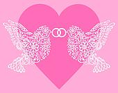 Silhouette of two white birds that hold the ring against pink hearts