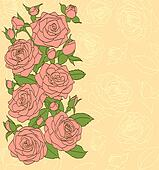 flowers, leaves and buds of pink roses. Painted in the old style. Suitable background for text and postcards