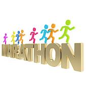 Human running symbolic figures over the word Marathon