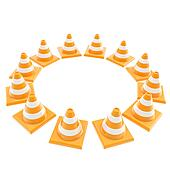 Roadworks orange cone copyspace round frame