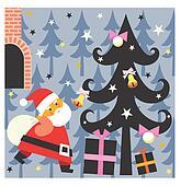 Santa brings presents
