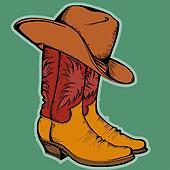 Cowboy boots and hat.Vector color illustration isolated for design