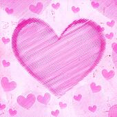 big pink striped heart on old paper