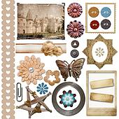 A set of vintage scrap elements -  frames, buttons, flowers isolated