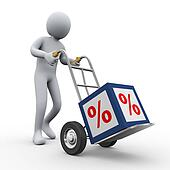 3d man pushing percent cube trolley