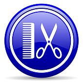barber blue glossy icon on white background