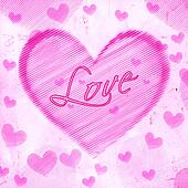 love in striped heart on pink old paper