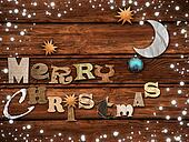 Merry Christmas card with decorations in paper cut style on a wooden background