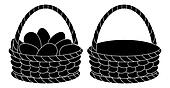 Baskets, empty and with eggs, silhouettes