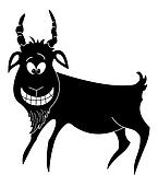 Cheerful goat, black silhouette