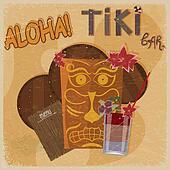 Vintage postcard - for tiki bar sign - featuring Hawaiian masks,