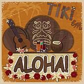 Vintage orange card - signboard tiki bar - with the image ukulel
