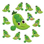 pea cartoon with many expressions