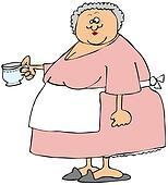 Old woman holding a cup of tea